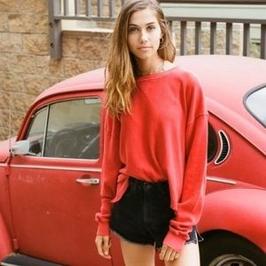 Brandy Melville Red Laila Thermal Top